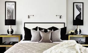chambre a coucher noir et blanc decoration chambre coucher adulte chic décorée noir blanc