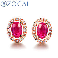 ruby stud earrings aliexpress buy zocai oval shape genuine ruby gemstone 1 0 ct