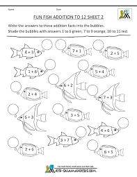 homeschool math worksheets fun addition to 12 fish 2