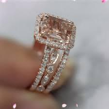 Rose Gold Wedding Ring Sets by Shop Pink Morganite Rose Gold Wedding Set On Wanelo