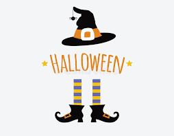 happy halloween card design with witch legs and stock vector