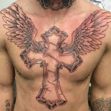 large cross with wings design on chest for