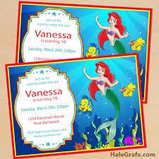 printable disney little mermaid birthday invitation