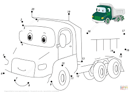 cartoon lorry 1 20 dot to dot free printable coloring pages