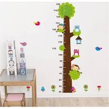 monkey and owl children height decor tree wall sticker for rooms