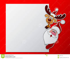 paper card with santa clause and deer with blank sign royalty free