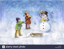 subscription children snowman snowball battle snowing stock
