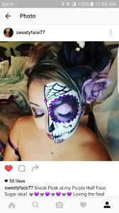 easy halloween makeup look half face purple sugar skull la