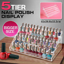 3 tiers acrylic clear nail polish cosmetic display case stand rack
