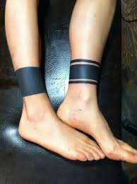 male cool ankle band tattoo ideas solid black ink lines tattoo