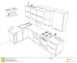 cuisine disposition esquissez le dessin de disposition de noir et blanc intérieur de la