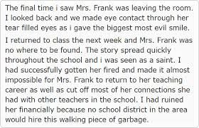 teacher keeps insulting her students for 10 years so this student