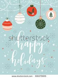 christmas greeting card lettering balls merry stock vector