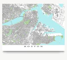 Massachusetts Maps Boston Map Print Massachusetts Usa Grey U2013 Maps As Art