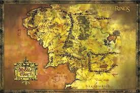 map of the lord of the rings lord of the rings poster middle earth gold map 24 x 36 shire