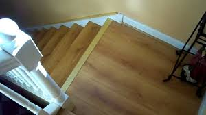 Fitting Laminate Floor Installing Laminate Flooring On Stairs Stair Renovation Idea Youtube
