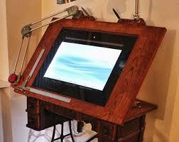 Old Drafting Table Drawing Machine Huge 40 4k Screen Digital Drafting