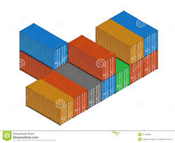 stacked colorful metal freight shipping containers on white stock