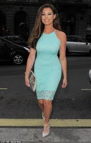 michelle keegan in grey dress as she promotes fashion collection