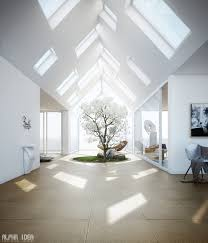 skylight design home with skylights and central courtyard