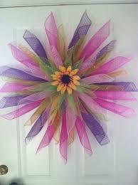 geo mesh wreath sunflower handmade geo mesh door wreath pink purple green 30