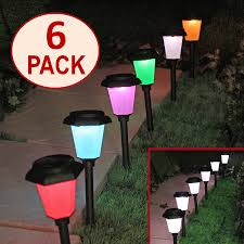solar path lights color changing color set option set of 6
