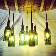three pendant lights for kitchen made of wine bottle with single f
