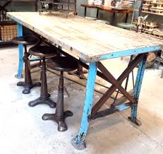 steel and reclaimed wood furniture vintage worktable blue metal