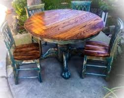 Pedestal Kitchen Table And Chairs - solid oak antique pedestal table 3 piece set shabby chic
