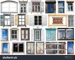 old modern windows wooden plastic frames stock photo 604332293