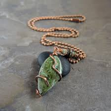 natural stone necklace pendant images Copper wire wrapped olive green natural stone jewelry set cuprite jpg