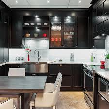 style de cuisine cuisine transitionnelle avec armoires noirs en merisier comptoir
