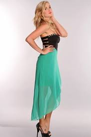 high low mint and black semi casual dress on the hunt