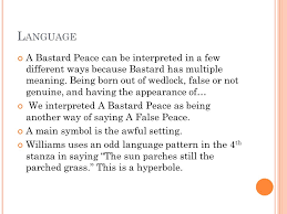 language setting pattern used in society a b astard p eace t hesis in the poem a bastard peace the author