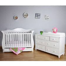 Sleigh Cot Bed White White New Zealand Pine 3 In 1 Baby Sleigh Cot Bed U0026 7 Drawers