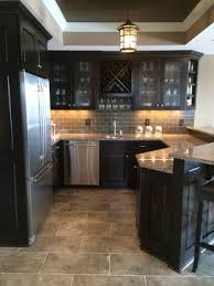 Backsplash Neutrals Kitchen Decor Amazing Dark Cabinets With Darker Neutral Tile Subway Tile Backsplash And