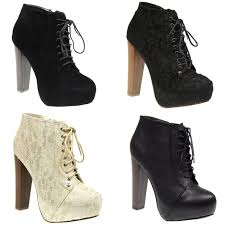 womens boots block heel womens lace up concealed platform high block heel