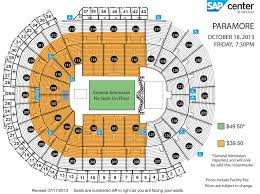 sap center seating chart with rows brokeasshome com paramore sap center
