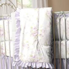 White Nursery Bedding Sets by Lavender Shabby Floral 3 Piece Crib Bedding Set Carousel Designs