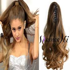 ponytail extensions 100 real human hair wave claw clip high ponytail extensions