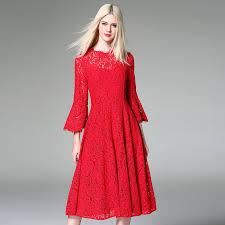 elegant ladies red lace party dresses women 2017 fashion designer