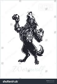vintage halloween graphic howling werewolf drawn ink by hand stock vector 489205288