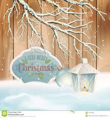 vector vintage christmas branch lantern background royalty free