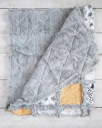 moon cloud and stars minky rag quilt gender neutral nursery
