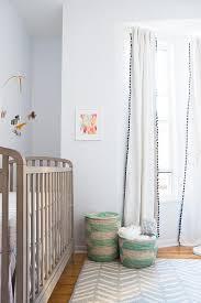 White And Grey Nursery Curtains Nursery With Black And White Pom Pom Curtains Transitional Nursery