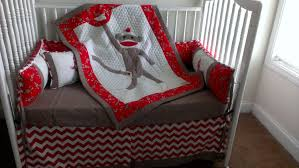Monkey Crib Bedding Sets Sock Monkey Red Custom Made Crib Bedding Set