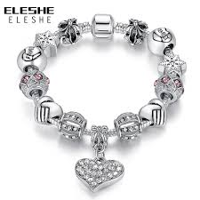 bracelet luxury charms images Eleshe luxury brand women bracelet 925 unique silver crystal charm jpg