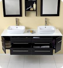 floating vanity with vessel sink double bathroom vanity with vessel sinks fresca bellezza 59 double