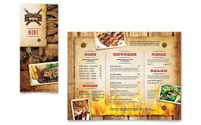 menu publisher template steakhouse bbq restaurant take out brochure template design