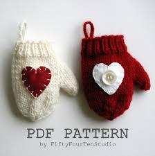 knitting pattern mitten ornament knit